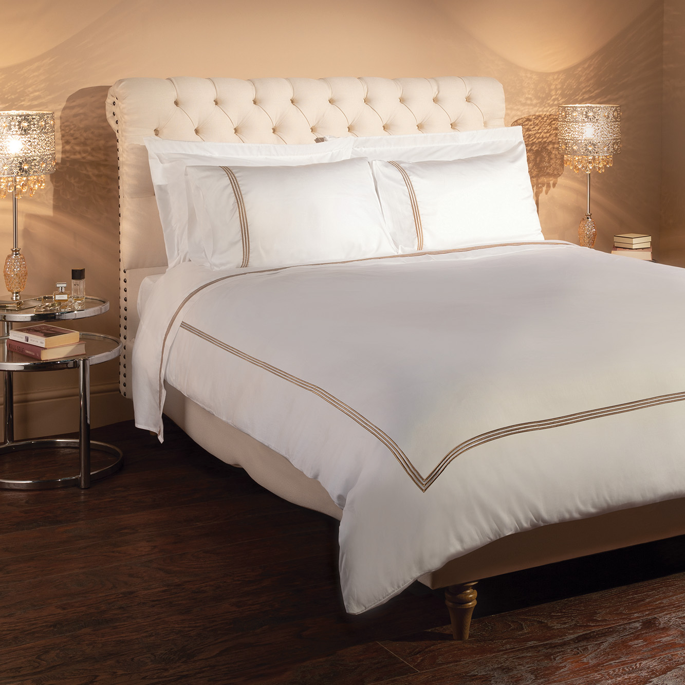 Sicily Luxury Egyptian Cotton 600 Thread Count Embroidered Duvet Cover Mediterranean Linens